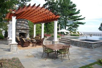 Arched Pergola, Redwood Pergola Walkway and Path Walnut Hill Landscape Company Annapolis, MD