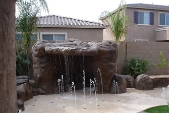 backyard splash waterfall