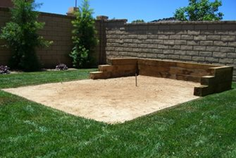 Horseshoes pit in backyard