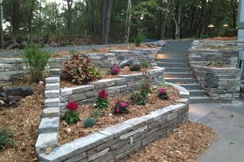 Dry Stone Retaining Wall, Solid Bluestone Steps Backyard Landscaping Arabella Stone Co. Minneapolis, MN