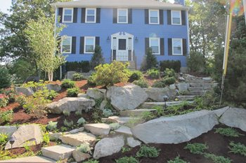 Sloping Front Yard, Granite Boulders Front Yard Landscaping Olde New England Granite Lynnfield, MA