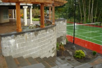 Yard After, Retaining Wall, Tennis Court Recently Added Woody's Custom Landscaping Inc Battle Ground, WA
