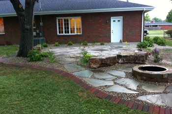 Backyard, Flagstone Patio, Fire Pit Altered Grounds Landscaping Granite City, IL