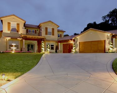 Concrete Driveway Sawcut, Front Yard Lighting Swimming Pool Landscaping Network Calimesa, CA