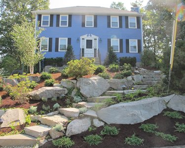 Sloping Front Yard, Granite Boulders Swimming Pool Olde New England Granite Lynnfield, MA