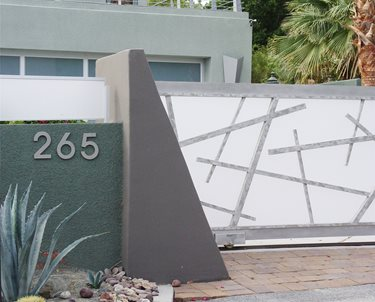 Modern Driveway Gate Swimming Pool Maureen Gilmer Morongo Valley, CA