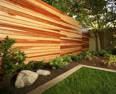 Modern Wood Fence Backyard Landscaping Lisa Cox Landscape Design Solvang, CA