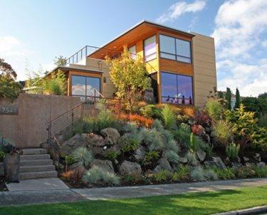 Front Yard Hillside Swimming Pool Banyon Tree Design Studio Seattle, WA