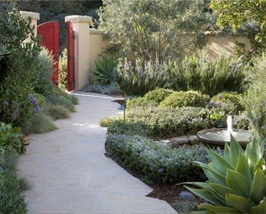 Red Garden Gate Swimming Pool ALIDA ALDRICH LANDSCAPE DESIGN Santa Barbara, CA