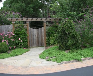 Gate Pergola Backyard Landscaping Sitescapes Landscape Design Stony Brook, NY