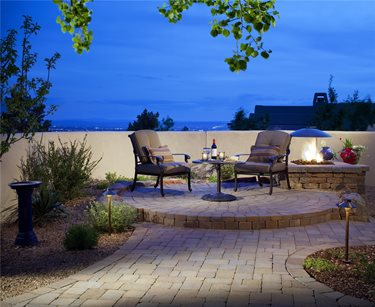Round, Small, Raised, Patio, Pavers, Fire Pit, Lighting Patio WaterQuest, Inc. Albuquerque, NM