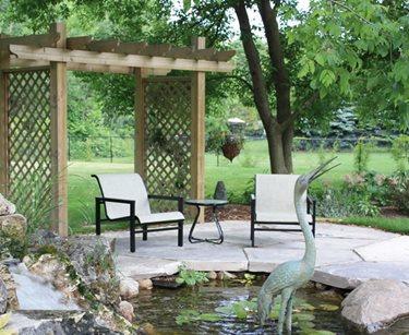 small lattice, pergola, pond
