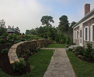 Front Retaining Wall Pergola and Patio Cover Elaine M. Johnson Landscape Design Centerville, MA