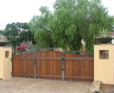 Wood Metal Driveway Gate Retaining and Landscape Wall Designs by Shellene San Diego, CA