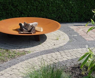 Corten Fire Pit, Circular Pavers, Gray Pavers Maureen Gilmer Morongo Valley, CA