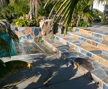 Flagstone, Colors, Stairway DC West Construction Inc. Carlsbad, CA