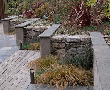 Garden Walls, Materials, Stone, Stucco Huettl Landscape Architecture Walnut Creek, CA