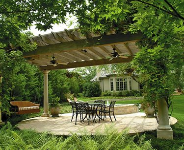 Round, Concrete Patio, Pergola Bonick Landscaping Dallas, TX