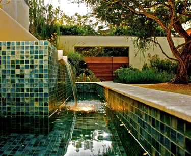 Custom Fountain, Tile Fountain Swimming Pool Fiore Design North Hollywood, CA
