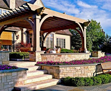 Custom, Wood, Pergola Swimming Pool Romani Landscape Architecture Glencoe, IL