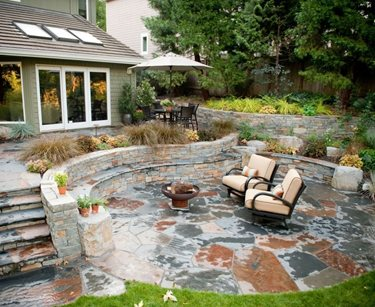 Rustic, Patio, Stone, Outdoor Living, Walls, Steps, Fire Pit Swimming Pool Gregg and Ellis Landscape Designs Portland, OR