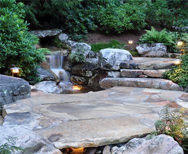 Stone, Bridge, Waterfall Swimming Pool Greenleaf Services Inc. Linville, NC