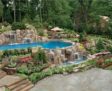 Swimming Pool Waterfalls Swimming Pool Cipriano Landscape Design Mahwah, NJ