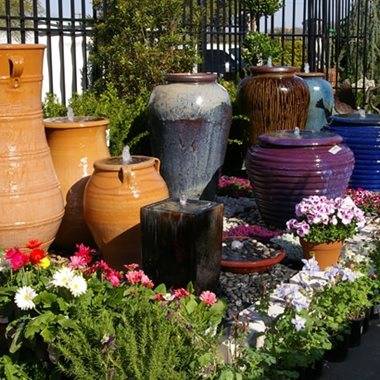 Outdoor fountain materials stone fiberglass ceramic metal landscaping network for Jacksons home and garden dallas