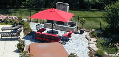 Backyard Living, Spa Surround, Stone Fireplace Backyard Landscaping Landscape Concepts St. Louis, MO