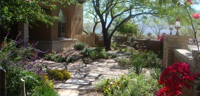 Garden Walkway Front Yard Landscaping Casa Serena Landscape Designs LLC Las Cruces, NM