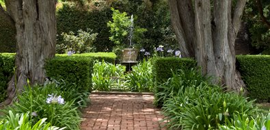 Brick Path, Straight Path Mediterranean Landscaping Grace Design Associates Santa Barbara, CA