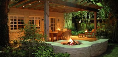 Circle, Fire Feature, Wall, Concrete Mediterranean Landscaping Bonick Landscaping Dallas, TX