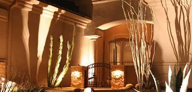 Entryway Lighting Mediterranean Landscaping Alexon Design Group Gilbert, AZ
