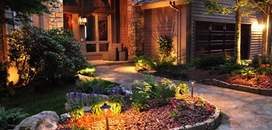 Front Entry Lighting Mediterranean Landscaping Greenleaf Services Inc. Linville, NC