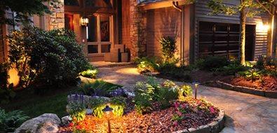 Front Entry Lighting Mediterranean Landscaping Greenleaf Services Inc. Linville, NC