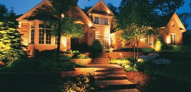 Front Yard Lighting Mediterranean Landscaping Peach Tree Landscaping Lascassas, TN