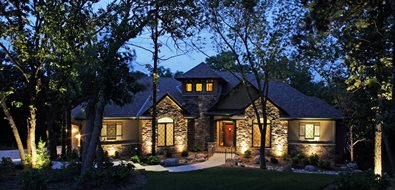 Front Yard, Lights Mediterranean Landscaping McKay Landscape Lighting Omaha, NE