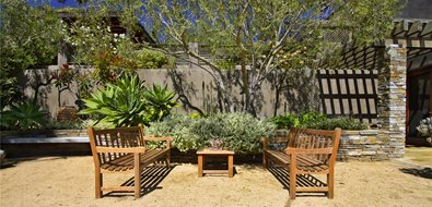 Gravel, Benches, Succulents Mediterranean Landscaping Landscaping Network Calimesa, CA