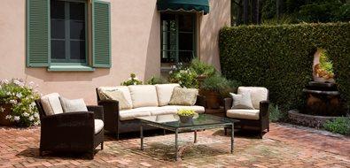 Large Brick Patio, Aged Brick Mediterranean Landscaping Grace Design Associates Santa Barbara, CA