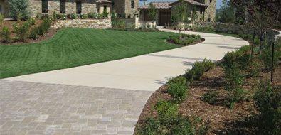 Long Driveway, Concrete Driveway Mediterranean Landscaping Accent Landscapes Colorado Springs, CO