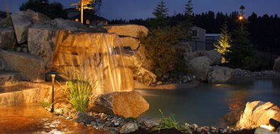 Waterfall Lighting Mediterranean Landscaping Copper Creek Landscaping, Inc. Mead, WA
