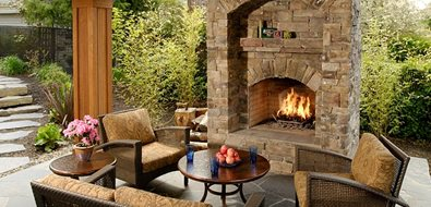 Backyard Fireplace Outdoor Fireplace Big Sky Landscaping Inc. Portland, OR