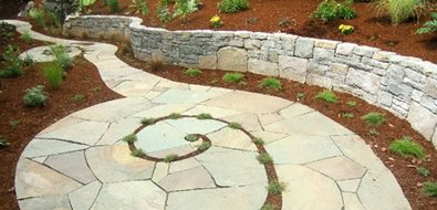 Spiraling Bluestone Walkway Walkway and Path Beautiful Bones & Purple Stones Landscape Design Portland, OR