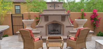 Southwestern Fireplace, Short Outdoor Fireplace Outdoor Fireplace Lone Star Landscaping Phoenix, AZ