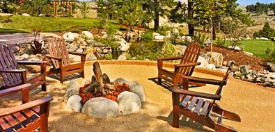 Boulder Fire Ring, Adirondack Chairs Colorado Landscaping American Design & Landscape Parker, CO