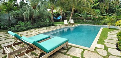 Tropical, Pool, Chaise Lounges, Palms, Green Southeast Landscaping Craig Reynolds Landscape Architecture Key West, FL