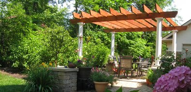 Square Backyard Pergola, Paver Patio Ohio Landscaping The Site Group, Inc. New Carlisle, OH