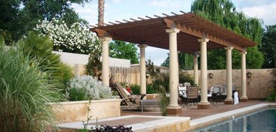 Poolside Pergola Northern California Landscaping Karen McGrath Design Redding, CA