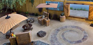Flagstone Spiral, Garden Wall Window Recently Added Cevan Forristt Landscape Design San Jose, CA