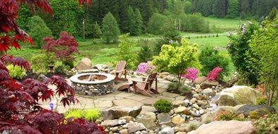 Stone Fire Pit, Flagstone Paving, Adirondack Chairs Seattle Landscaping Stock & Hill Landscapes, Inc Lake Stevens, WA